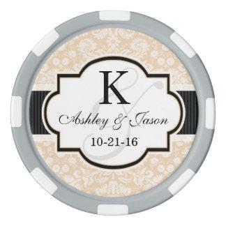 Schwarzes und Champagne-Damast-Hochzeit Poker Chips Set