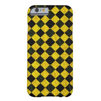 Schwarzes und gelbes kariertes Muster Barely There iPhone 6 Hülle