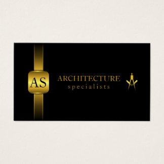 Schwarzes und Goldarchitekten-Kompass-Architektur Visitenkarten