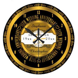 Schwarzes und Goldeleganter 55. Hochzeitstag Uhren