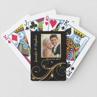 Schwarzes und Goldhochzeits-Foto-Spielkarten Poker Karten