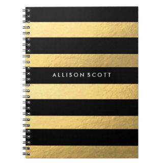 Schwarzes und Goldpersonalisiertes Notizbuch