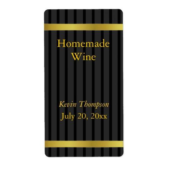 Schwarzes und Goldselbst gemachter Wein-Aufkleber Versandetikett