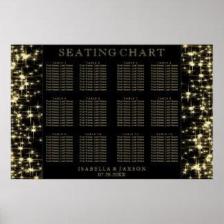 Schwarzes und GoldStarlights - Sitzplatz-Diagramm Poster
