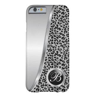 Schwarzes und graues Monogramm des Leopard-Druck-| Barely There iPhone 6 Hülle