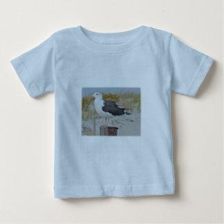 Schwarzes unterstützte Möven-Seemöwe-Reihe Baby T-shirt