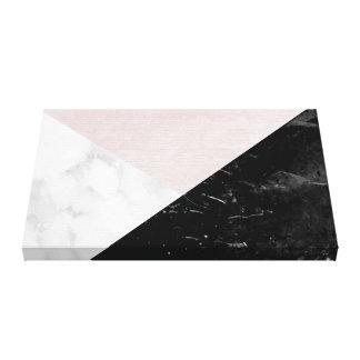 Schwarzes, weißes rosa Silk abstraktes Gespannte Galeriedrucke