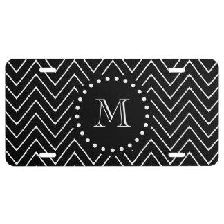 Schwarzes Zickzack schwarzes Monogramm des US Nummernschild