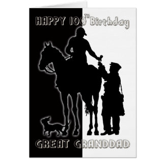 Schwarzweiss-100. Geburtstags-Karte Greatgrandad Grußkarte