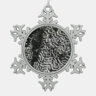 Schwarzweiss-abstraktes Natur-Foto der Korallen-I Schneeflocken Zinn-Ornament