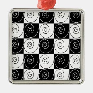 Schwarzweiss-abstraktes Silbernes Ornament