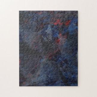 Schwarzweiss auf blauem und rotem Hintergrund Puzzle
