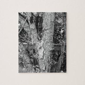 Schwarzweiss-Baum-Natur-Foto-Puzzlespiel Puzzle