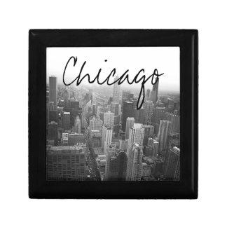 Schwarzweiss-Chicago-Skyline Kleine Quadratische Schatulle