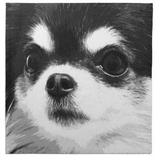 Schwarzweiss-Chihuahua Stoffserviette