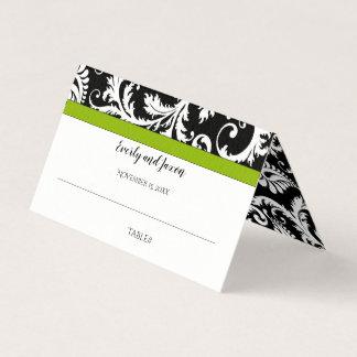Schwarzweiss-Damast-Grün-Ordnungs-Hochzeit Platzkarte