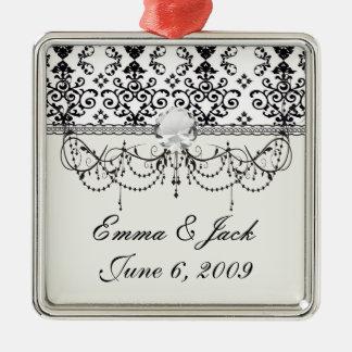 Schwarzweiss-Damaststrudel Silbernes Ornament