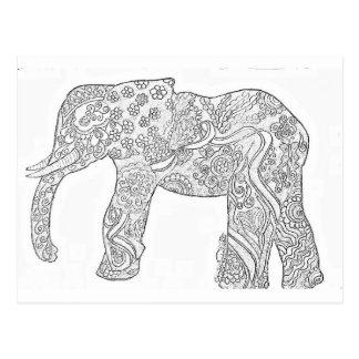 Schwarzweiss-Elefant-Entwurf Postkarte