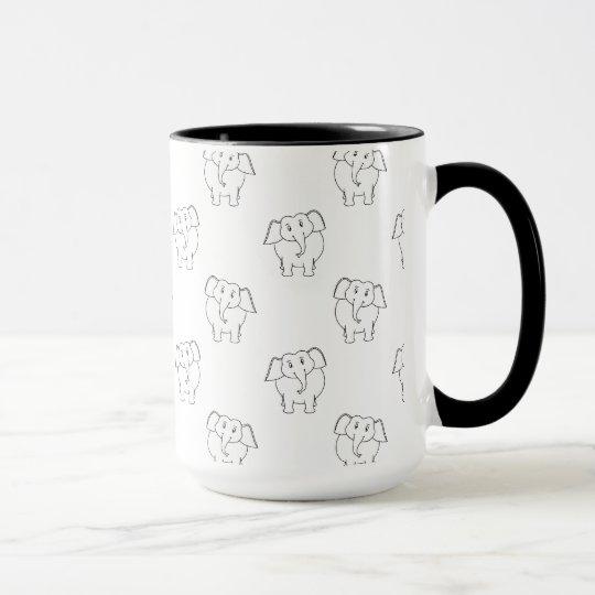 schwarzweiss elefant muster tasse. Black Bedroom Furniture Sets. Home Design Ideas