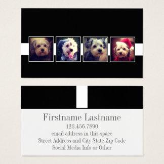 Schwarzweiss-Foto-Collage quadriert Visitenkarten