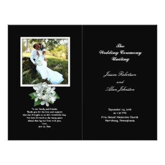 Schwarzweiss-Foto-Hochzeits-Programm gefaltet 21,6 X 27,9 Cm Flyer