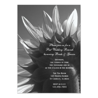 Schwarzweiss-Garten-Sonnenblume-Hochzeits-Brunch 12,7 X 17,8 Cm Einladungskarte