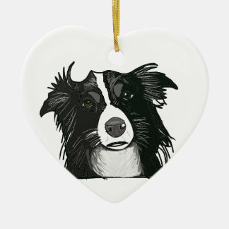 Schwarzweiss-Grenzcollie-Keramik-Herz Keramik Ornament
