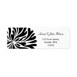Schwarzweiss-Hochzeit, Rücksendeadresseaufkleber Rücksende Aufkleber