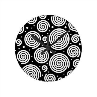 Schwarzweiss-Hypnosen Runde Wanduhr