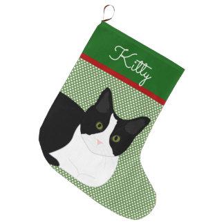 Schwarzweiss-Katze personalisiert Großer Weihnachtsstrumpf