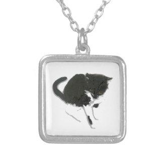 Schwarzweiss-Katzen-Grafik Versilberte Kette