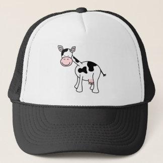 Schwarzweiss-Kuh-Karikatur Truckerkappe
