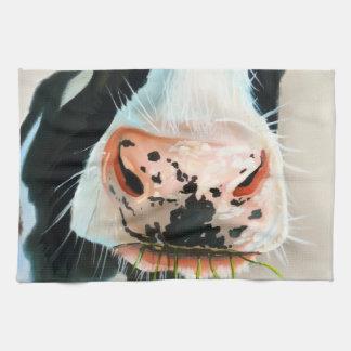 Schwarzweiss-Kuhporträtmalerei Handtuch