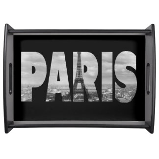 Schwarzweiss-Kunst Vintager Paris und Eiffel-Turm Serviertablett