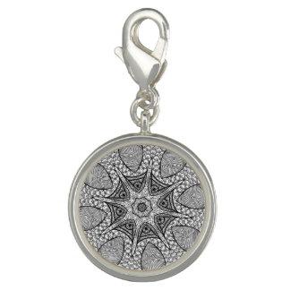 Schwarzweiss-Mandala-Charme Foto Charms