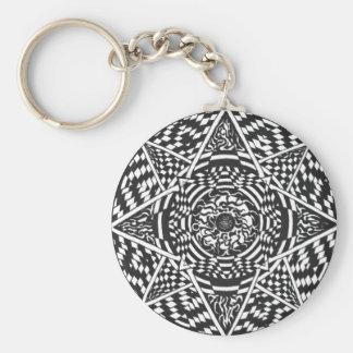 Schwarzweiss-Mandalaentwurf Schlüsselanhänger