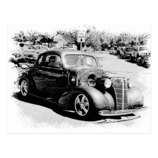 Schwarzweiss-Oldie - Vintages Auto Postkarte