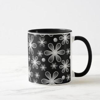 Schwarzweiss-Perlen-Blumen-Wecker-Tasse Tasse