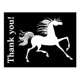 Schwarzweiss-PferdeSilhouette danken Ihnen Postkarten