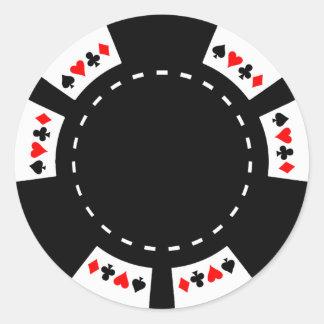 Schwarzweiss-Poker-Chip Runder Aufkleber