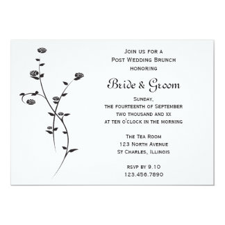 Schwarzweiss-Rosen-Posten-HochzeitBrunch laden ein 12,7 X 17,8 Cm Einladungskarte