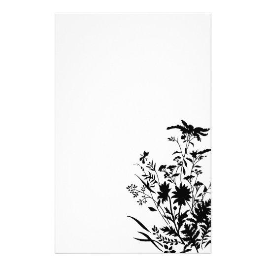 Schwarzweiss-Silhouette-Blumen… Briefpapier | Zazzle.at