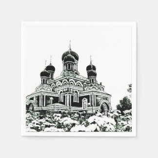 Schwarzweiss-Skizze-Kirchen-Papierserviette Papierservietten