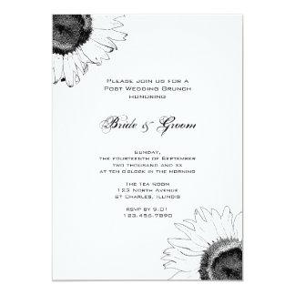 Schwarzweiss-Sonnenblume-Posten-Hochzeits-Brunch 12,7 X 17,8 Cm Einladungskarte
