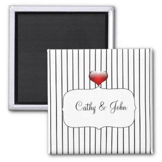 Schwarzweiss-Streifen-moderne Hochzeit Quadratischer Magnet