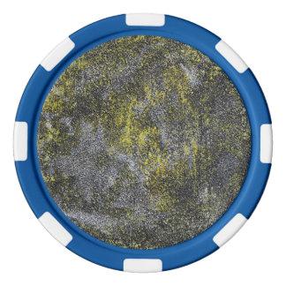 Schwarzweiss-Tinte auf gelbem Hintergrund Pokerchips