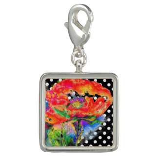 Schwarzweiss-Tupfen der roten Mohnblume Charms