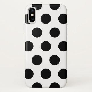 Schwarzweiss-Tupfen-Retro Muster iPhone X Hülle