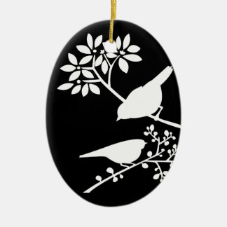 Schwarzweiss-Vögel Keramik Ornament