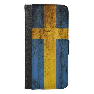 Schweden-Flagge auf altem hölzernem Korn